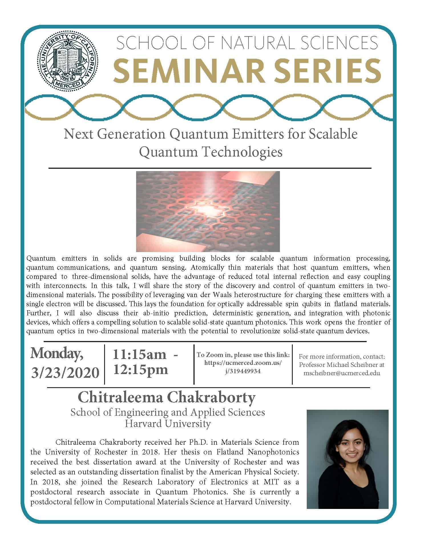 Physics Seminar for Dr. Chitraleema Chakraborty
