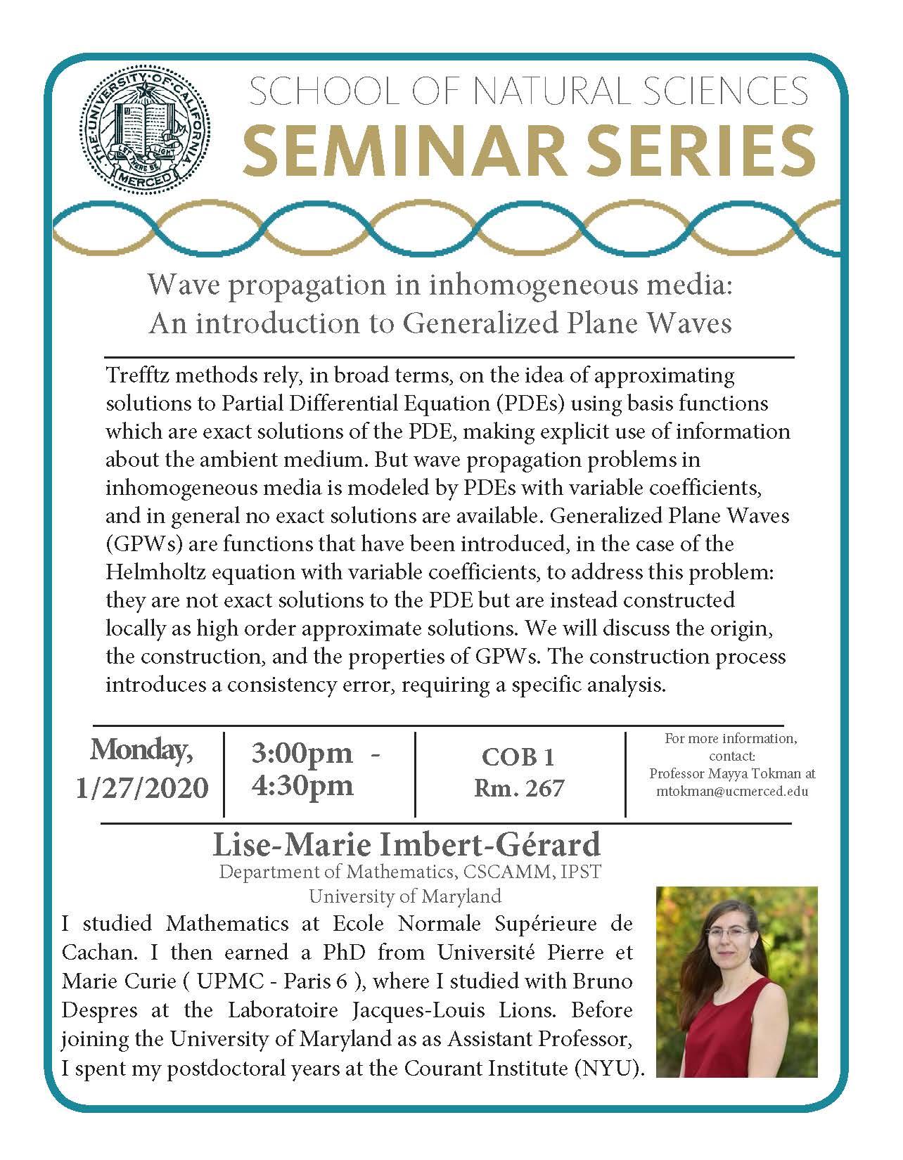 Applied Math Seminar: Dr. Lise-Marie Imbert-Gerard
