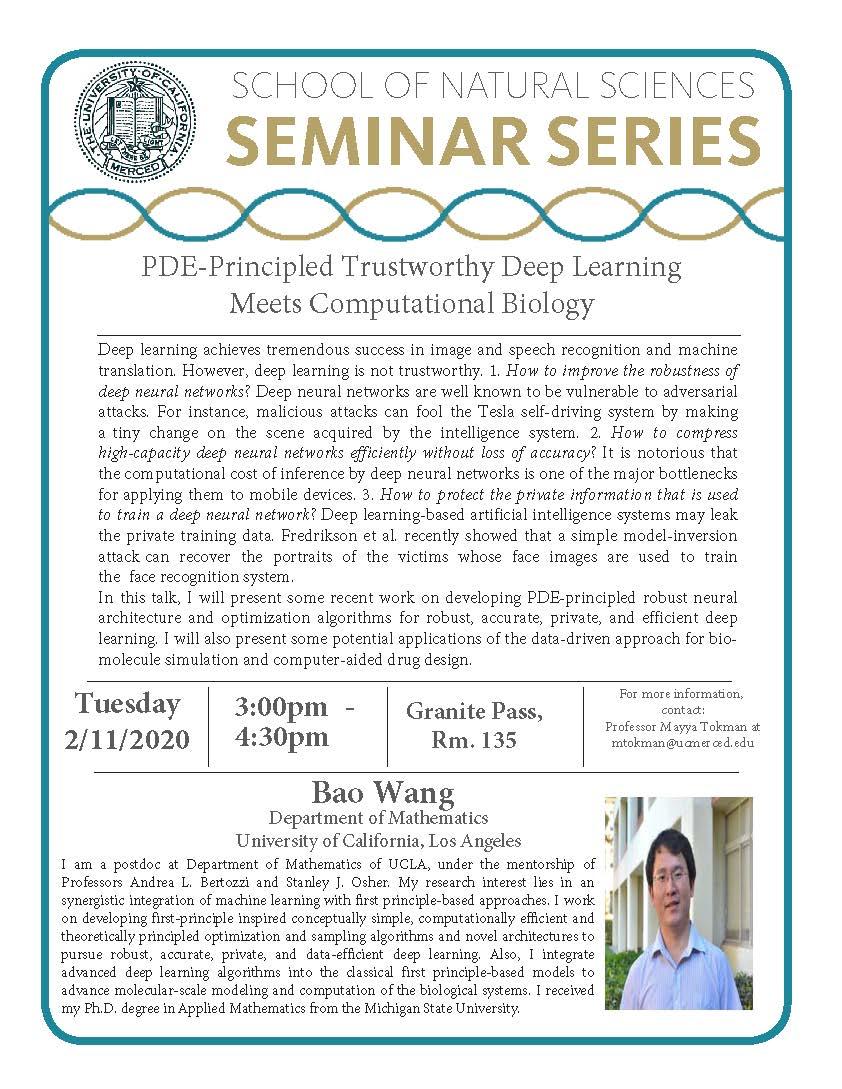 Applied Mathematics Seminar for Dr. Bao Wang