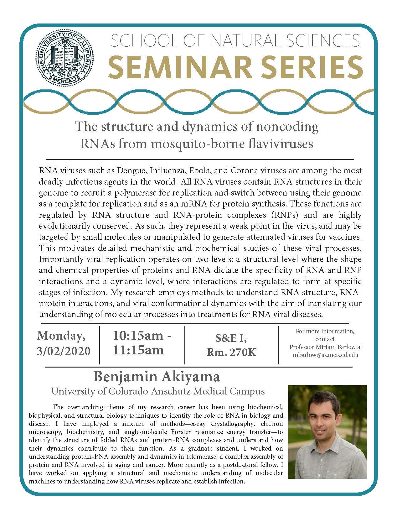 MCB Seminar for Dr. Benjamin Akiyama