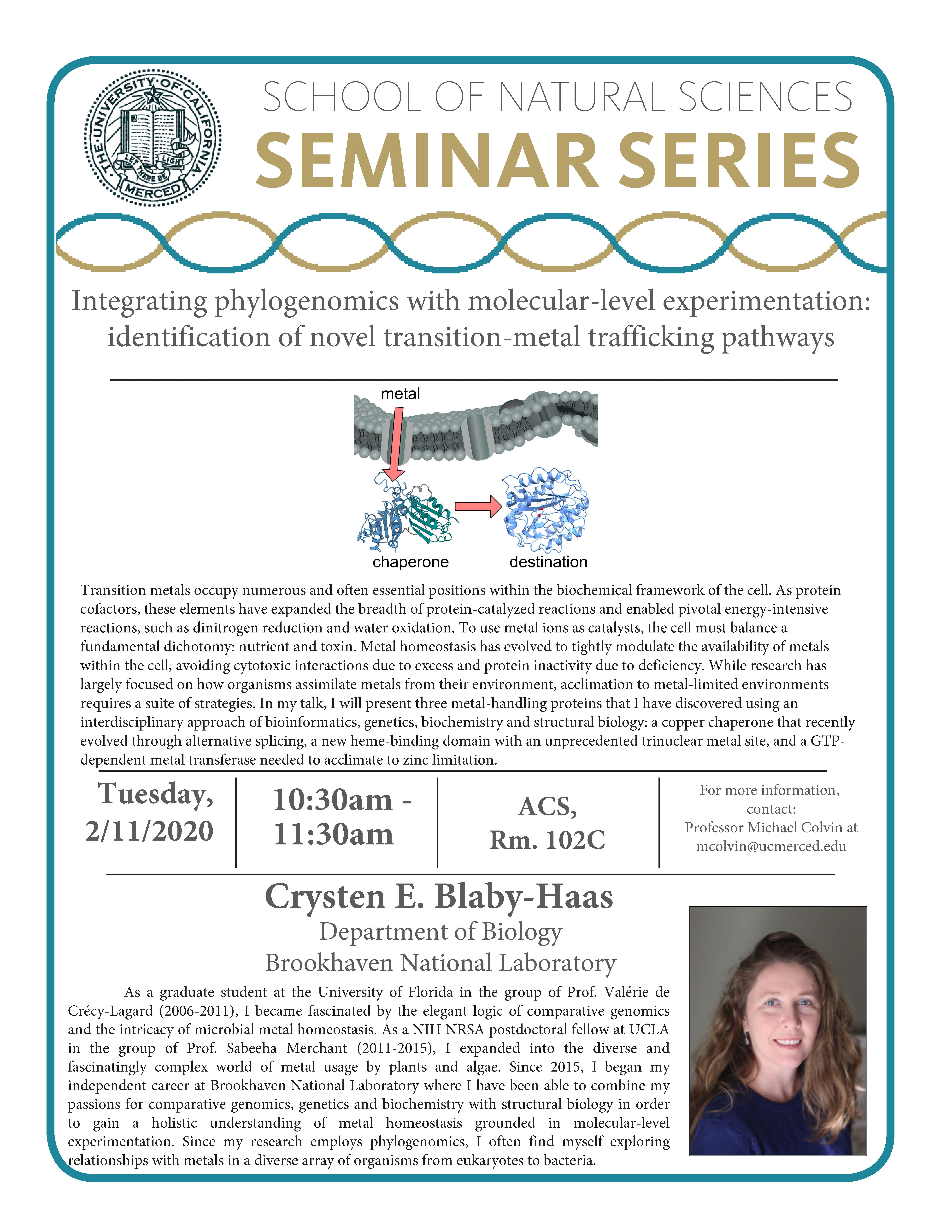 CCB Seminar for Dr. Crysten Blaby