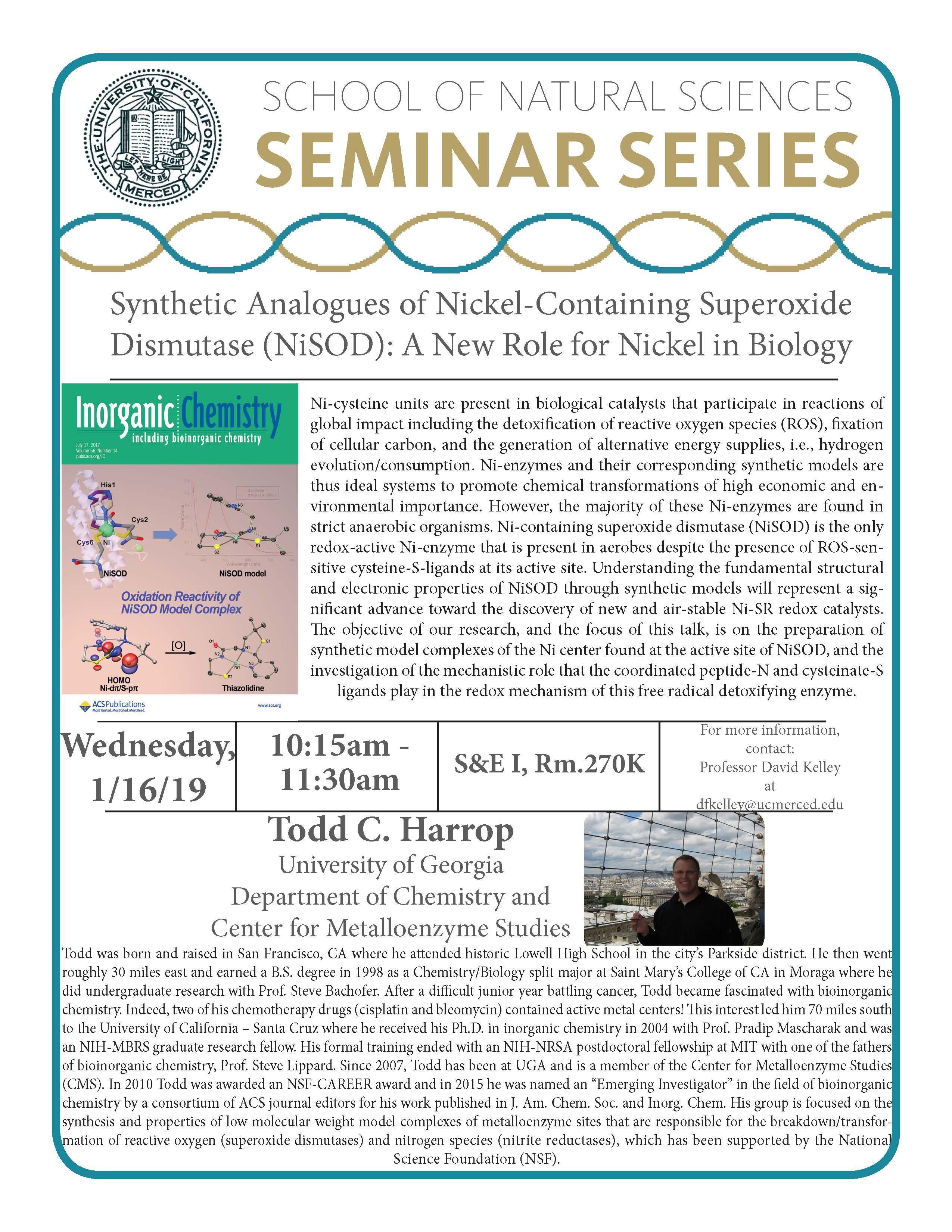 CCB Seminar - Dr. Todd C. Harrop