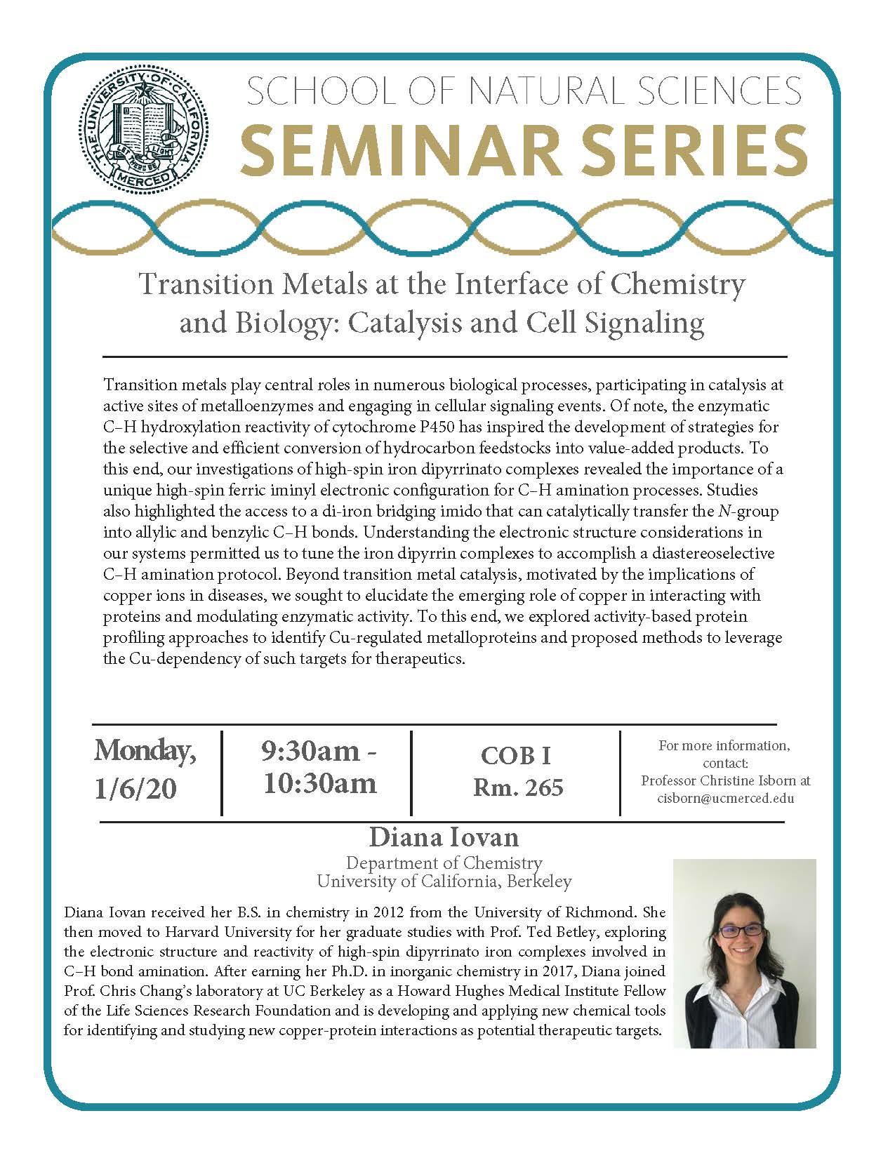 CCB Seminar for Dr. Diana Iovan