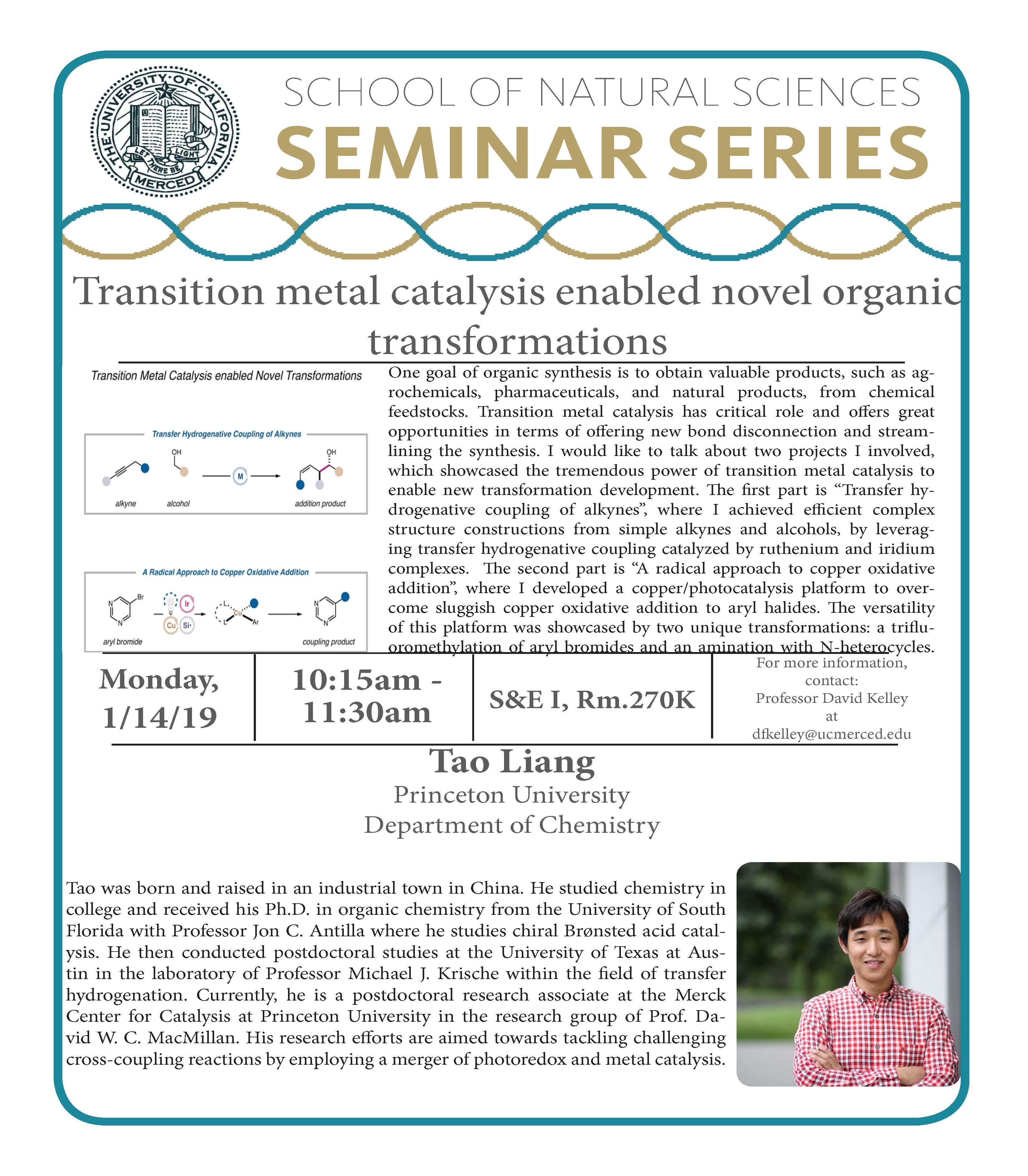 CCB Seminar - Dr. Tao Liang