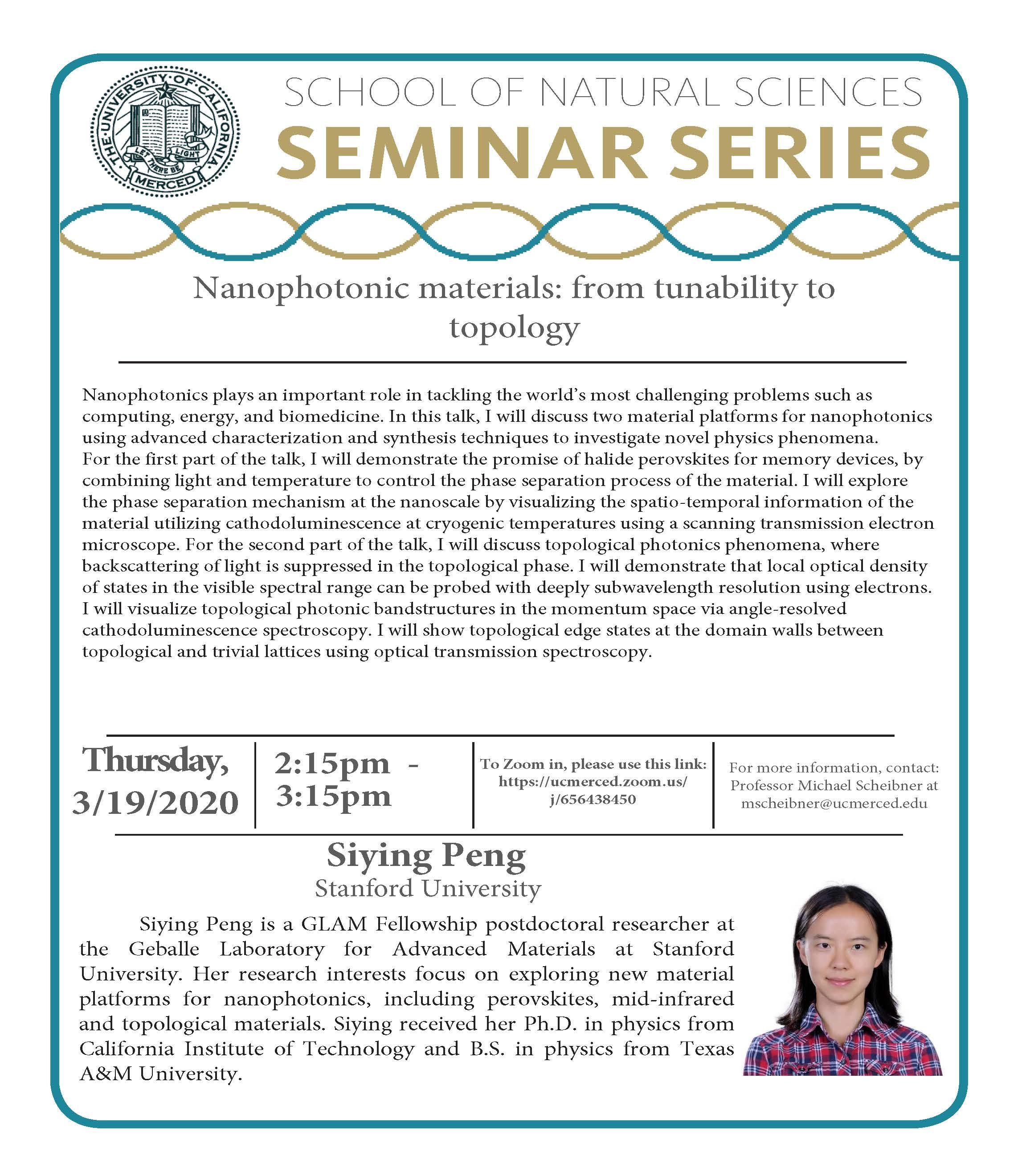 Physics Seminar for Dr. Siying Peng