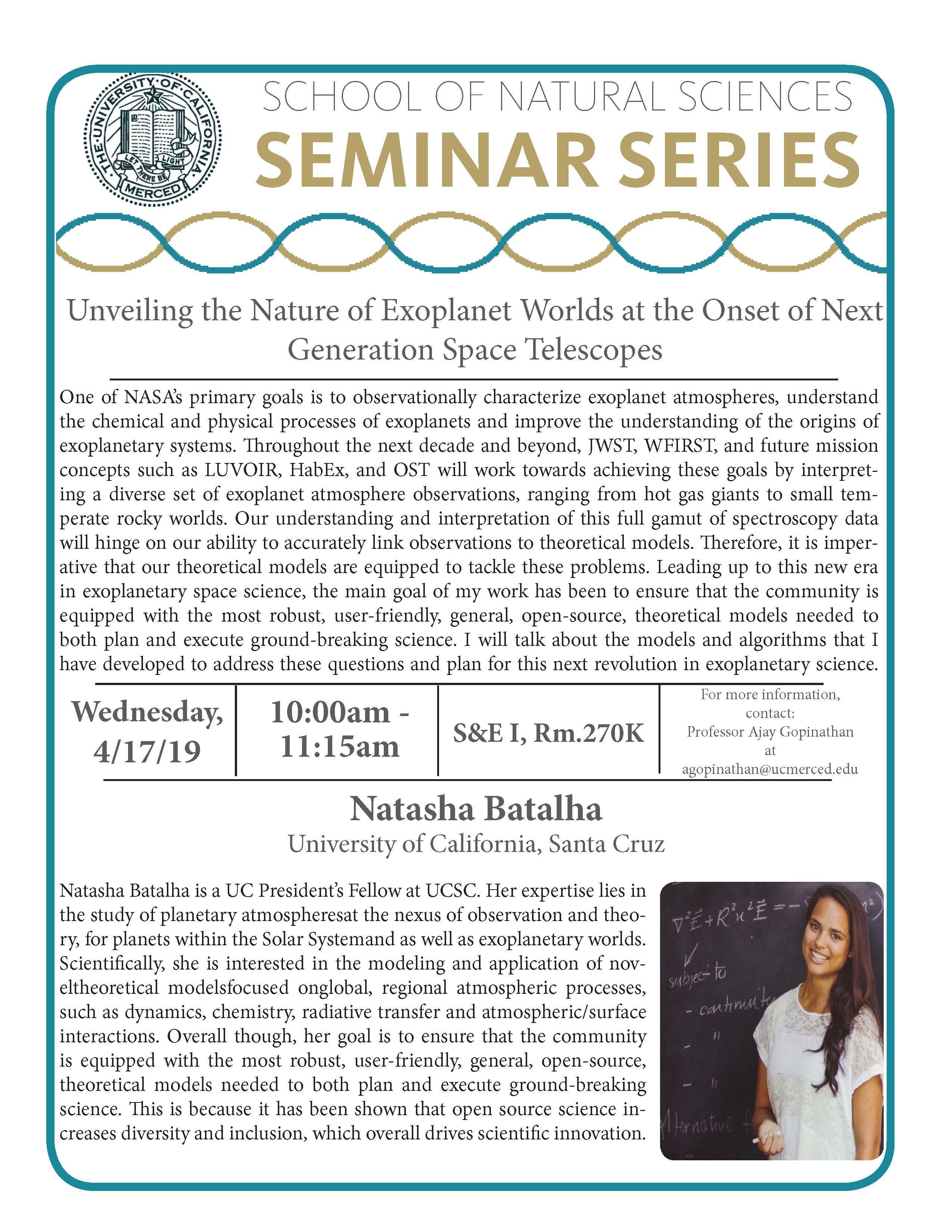 Physics Seminar - Dr. Natasha Batalha