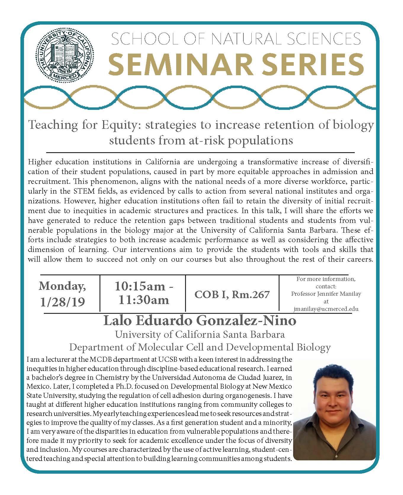 MCB Seminar - Dr. Lalo Eduardo Gonzalez-Nino