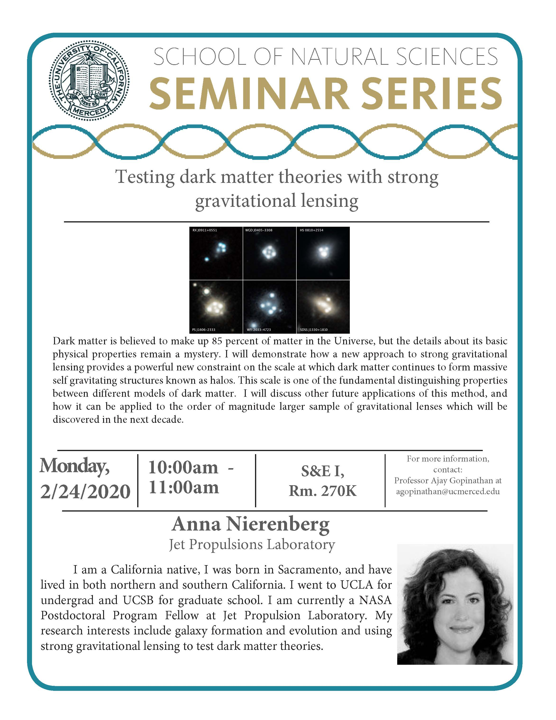 Physics Seminar for Dr. Anna Nierenberg