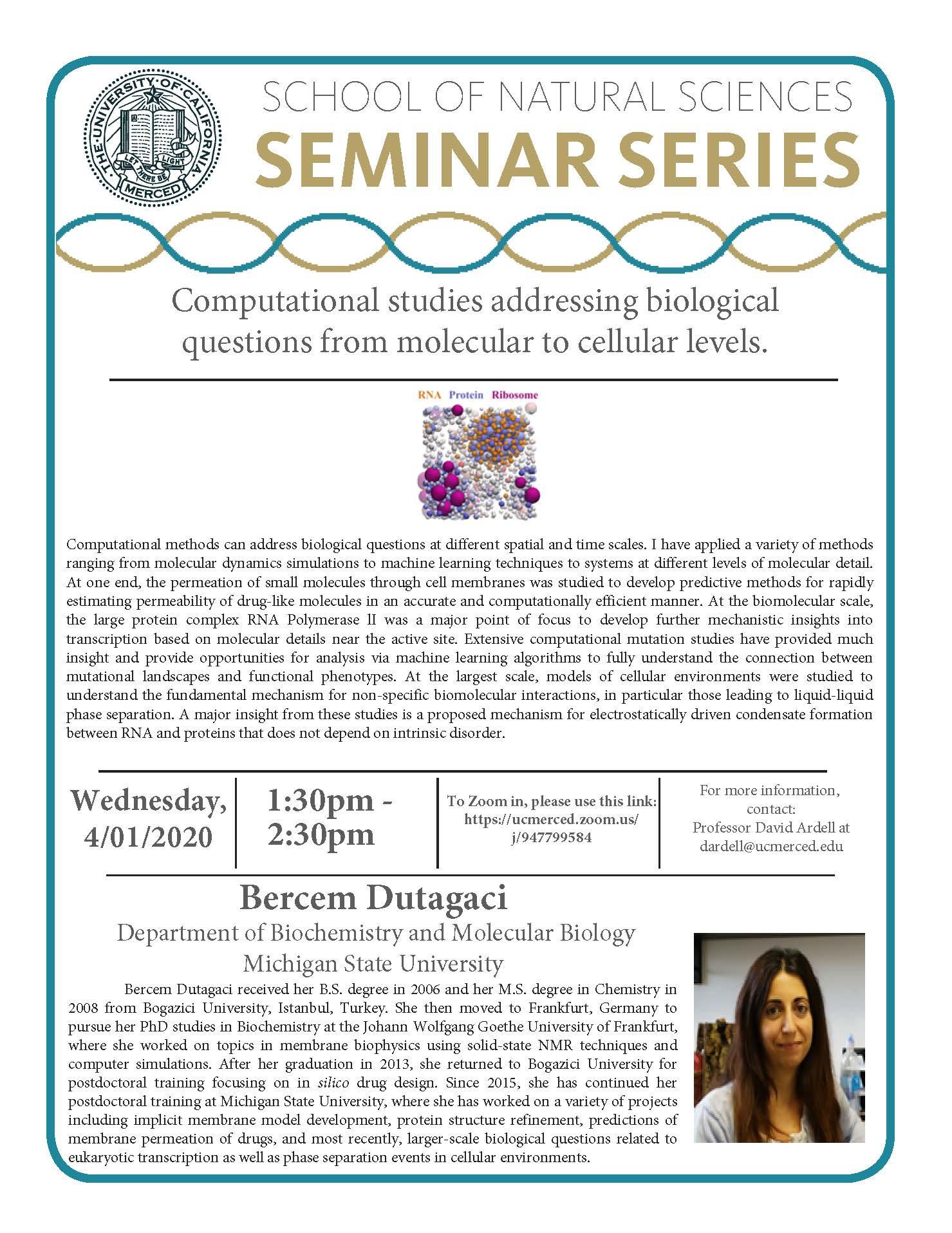 MCB Seminar for Dr. Bercem Dutagaci