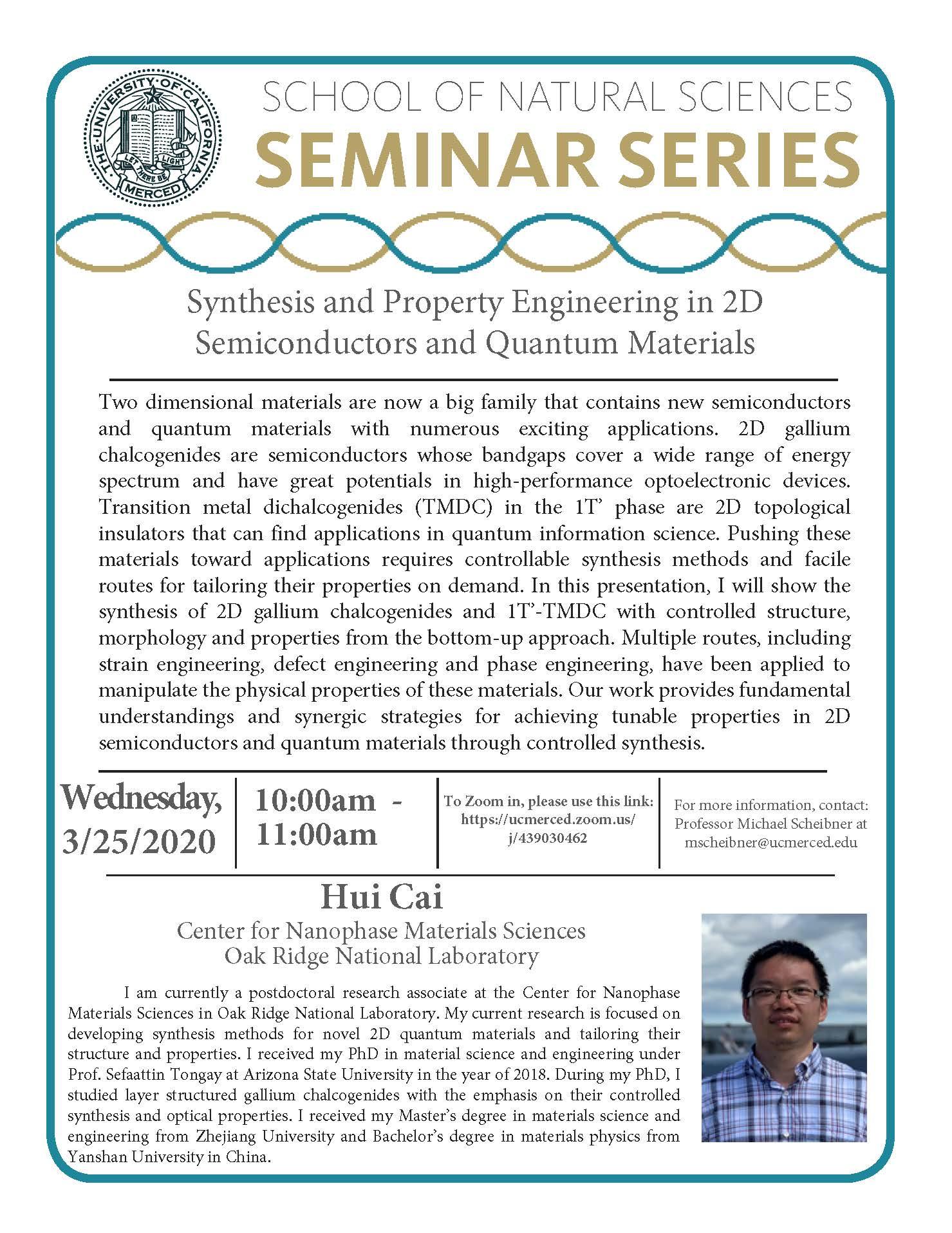 Physics Seminar for Dr. Hui Cai