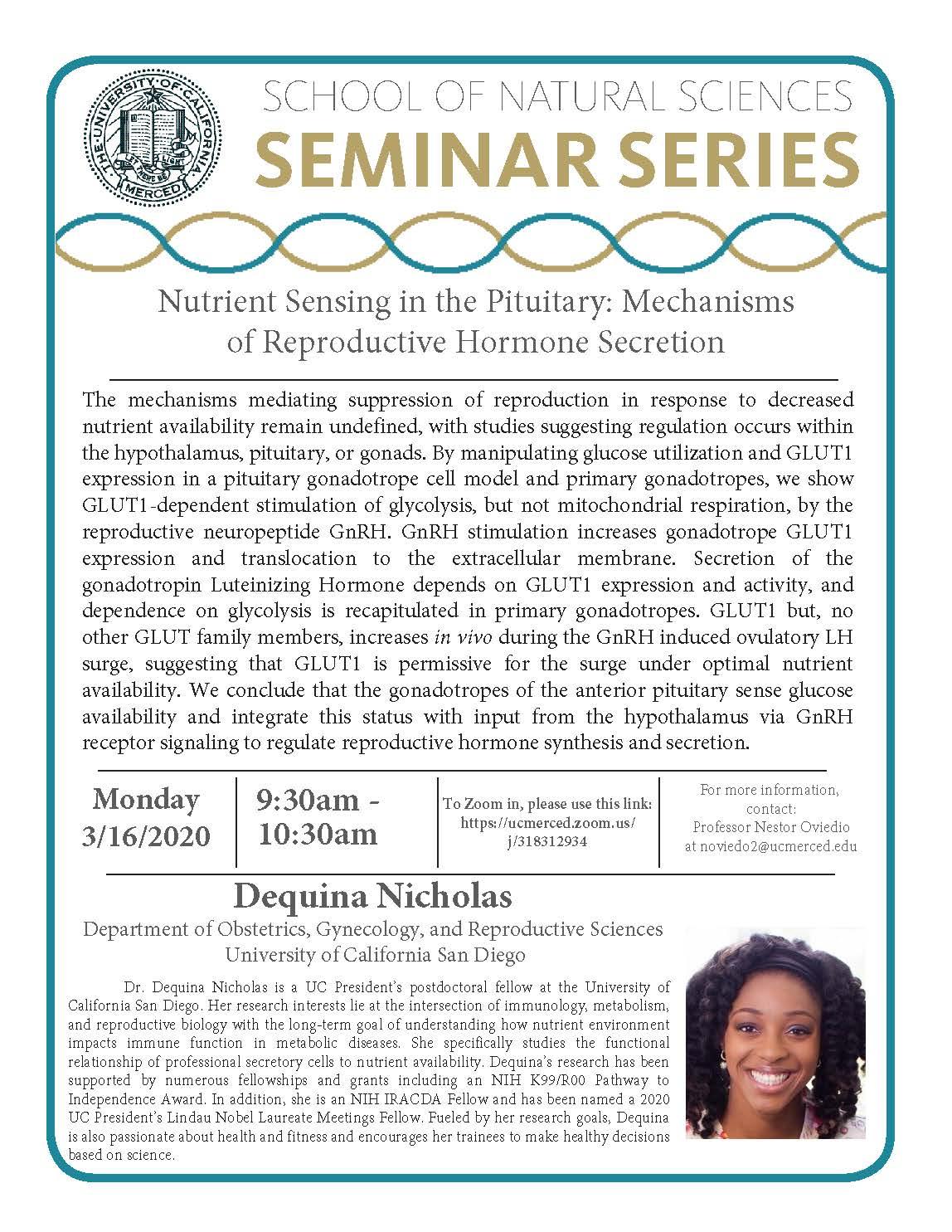 MCB Physiology Seminar for Dequina Nicholas