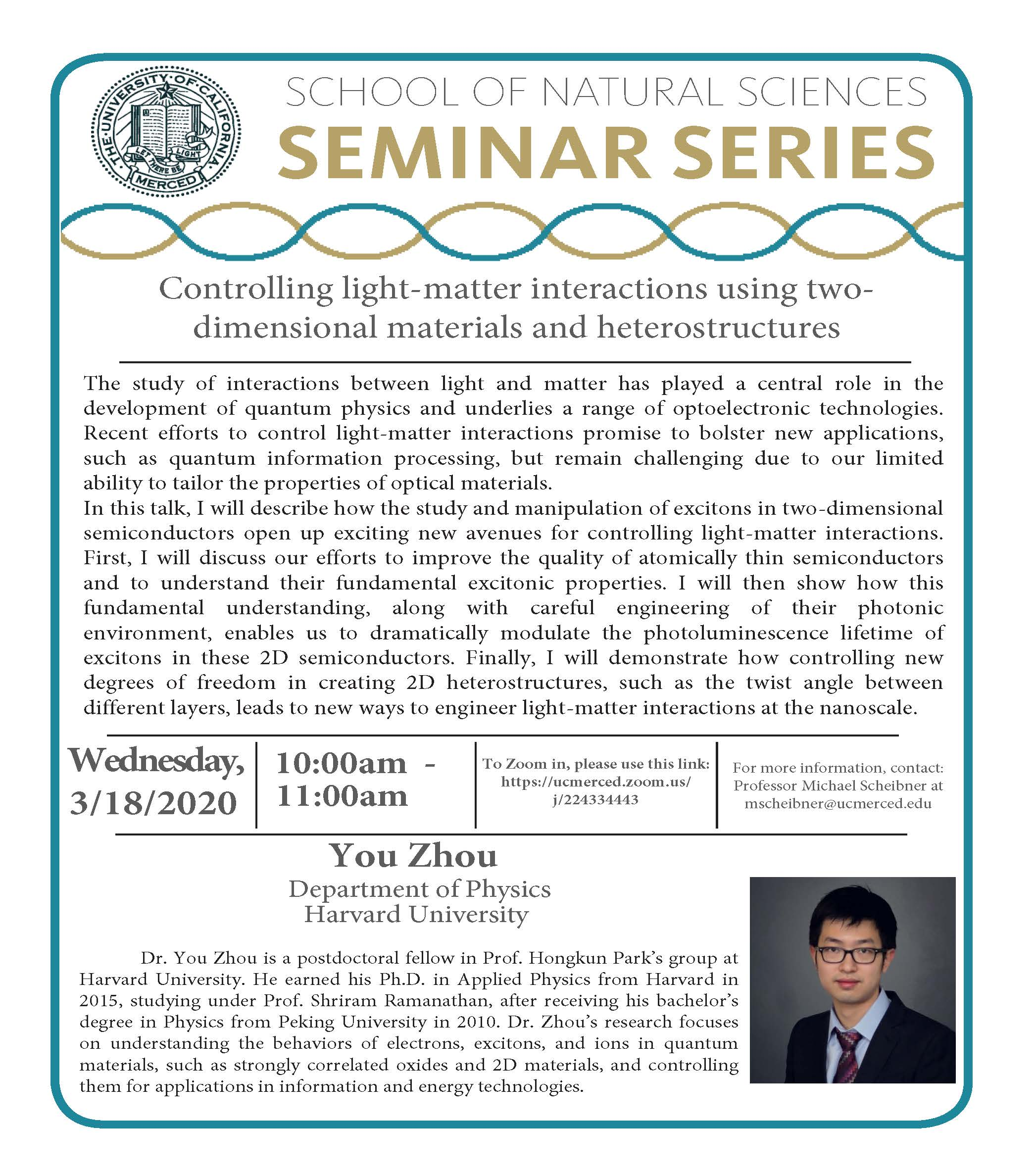 Physics Seminar for Dr. You Zhou