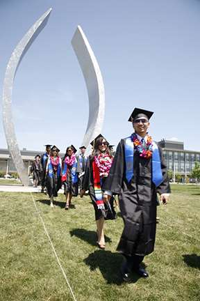 Students walking commencement