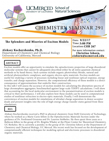 Chemistry Seminar Series 291 (9/22/17)