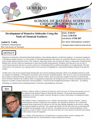 Chemistry Seminar Series 291 (3/10/17)