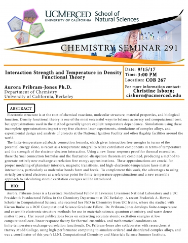 Chemistry Seminar Series 291 (9/15/17)