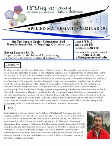 Applied Mathematics Seminar 291 (9/15/17)
