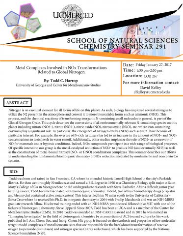 Chemistry Seminar Series 291 (1/27/17)