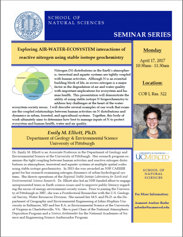 Life & Environmental Sciences Seminar (4/17/17)