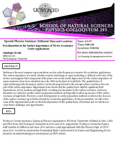 Special Physics Seminar Series 293 (2/3/17)