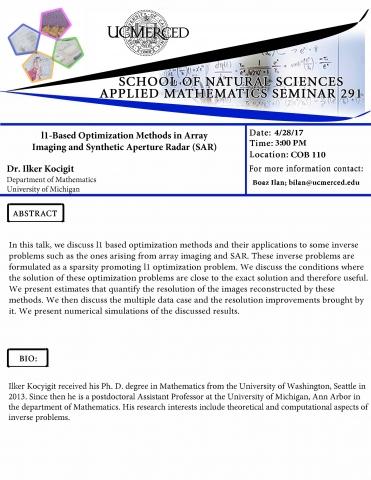 Applied Math Seminar 291 (4/28/17)