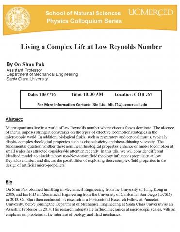 Physics Seminar Series 10/7/16