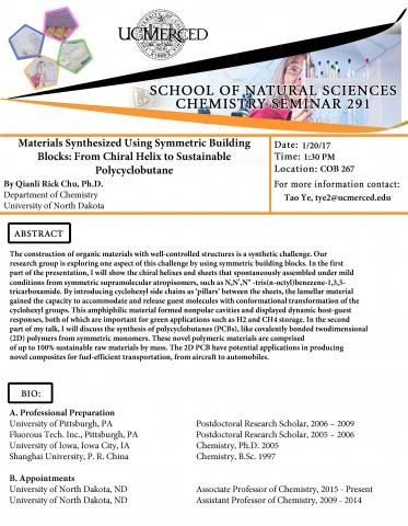 Chemistry Seminar Series 291 (1/20/17)
