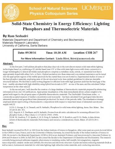 Physics Seminar Series 9/30/16