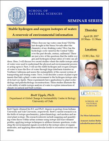 Life & Environmental Sciences Seminar (4/20/17)