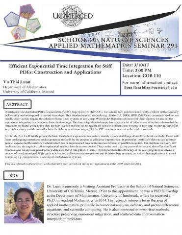 Applied Mathematics Seminar Series 291 (3/10/17)