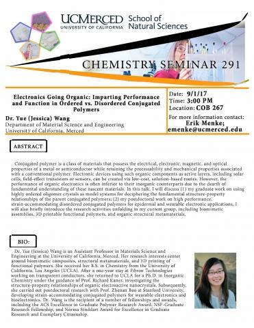 Chemistry Seminar Series 291 (9/1/17)