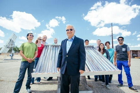 Professor Roland Winston and some of his team at UC Solar